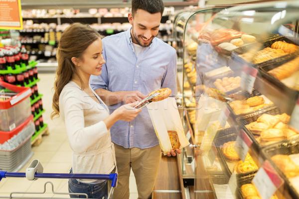 ストックフォト: 幸せ · カップル · ショッピングカート · 食品 · 販売