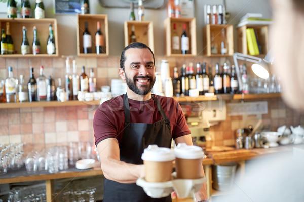 человека официант клиентов кофейня малый бизнес Сток-фото © dolgachov