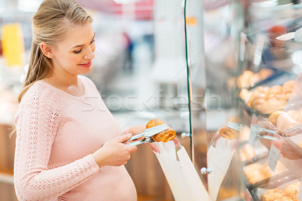 Mujer embarazada bolsa compra comestibles compras alimentos Foto stock © dolgachov