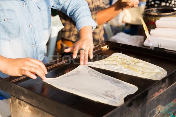 女性 料理 パンケーキ 通り 市場 アジア ストックフォト © dolgachov