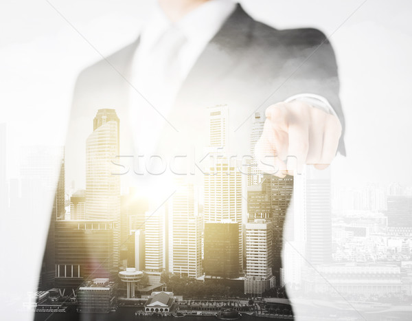close up of businessman pointing finger at you Stock photo © dolgachov