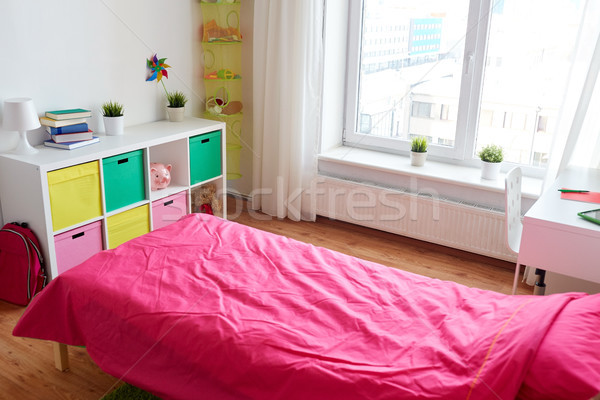 kids room interior with bed, rack and accessories Stock photo © dolgachov
