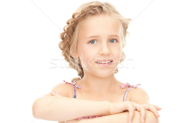 Stock fotó: Kislány · fényes · közelkép · portré · kép · lány