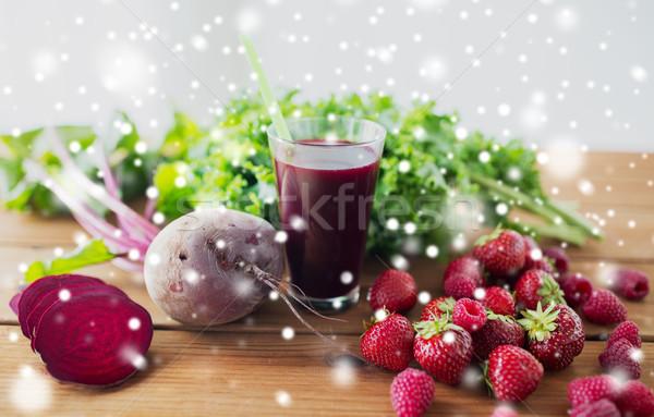 glass of beetroot juice, berries and vegetables Stock photo © dolgachov