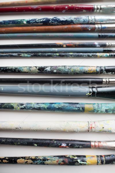 Vuile penselen top schilderij Stockfoto © dolgachov