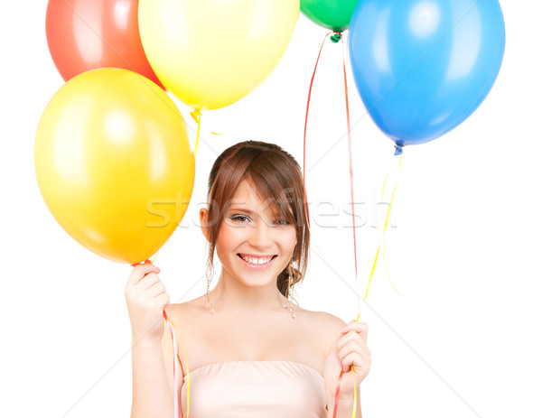 happy teenage girl with balloons Stock photo © dolgachov