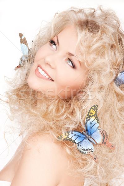 ストックフォト: 女性 · 蝶 · 髪 · 画像 · 幸せ · セクシー