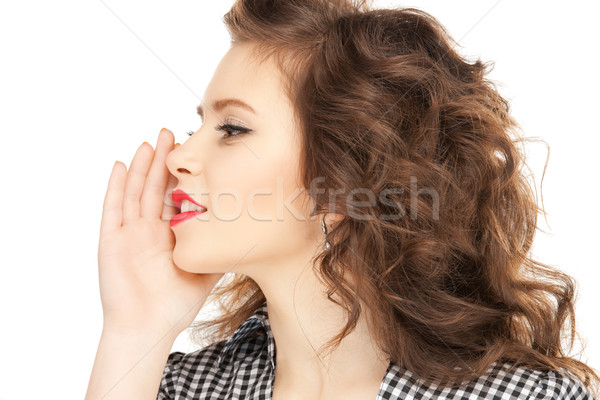 woman whispering gossip Stock photo © dolgachov