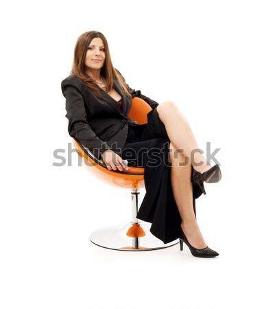 Mujer de negocios silla portátil ordenador portátil blanco negocios Foto stock © dolgachov