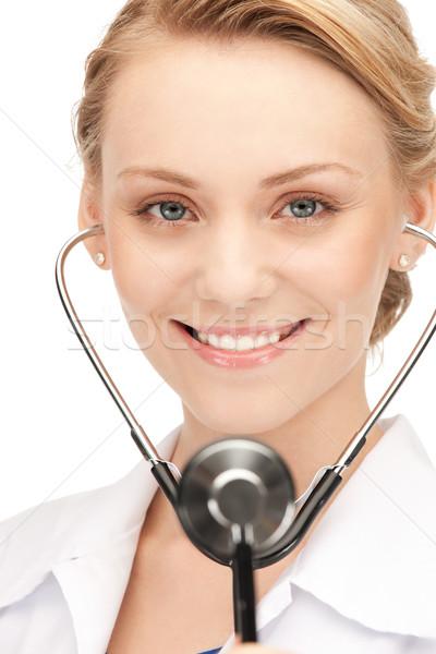 Привлекательная женщина врач стетоскоп фотография женщину девушки Сток-фото © dolgachov