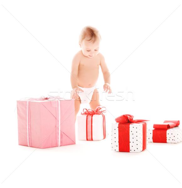 ストックフォト: 赤ちゃん · 少年 · 贈り物 · 画像 · 白 · 子