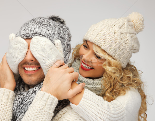 family couple in a winter clothes Stock photo © dolgachov