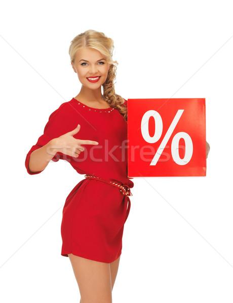 Kobieta czerwona sukienka procent podpisania zdjęcie szczęśliwy Zdjęcia stock © dolgachov