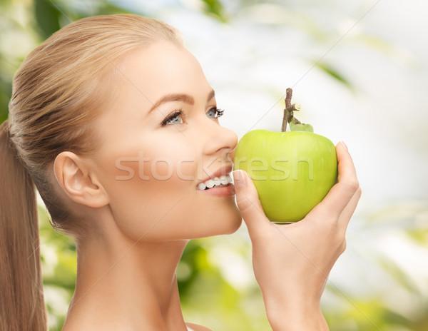 женщину яблоко красивой свежие зеленый Сток-фото © dolgachov