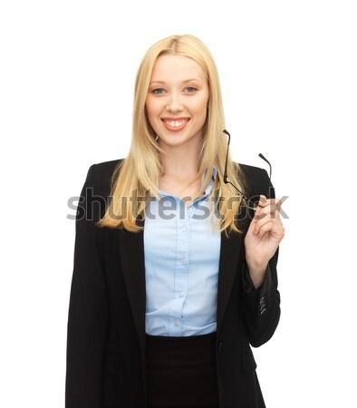 Photo stock: Femme · souriante · lunettes · lumineuses · photos · accueillant · jeunes