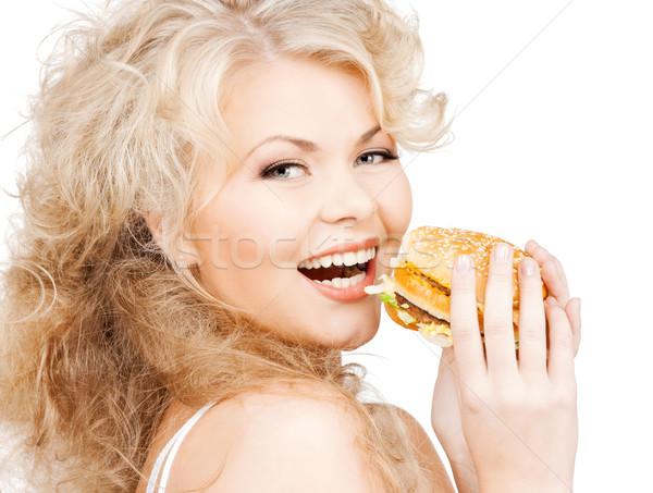 Hermosa feliz mujer Burger salud alimentos Foto stock © dolgachov