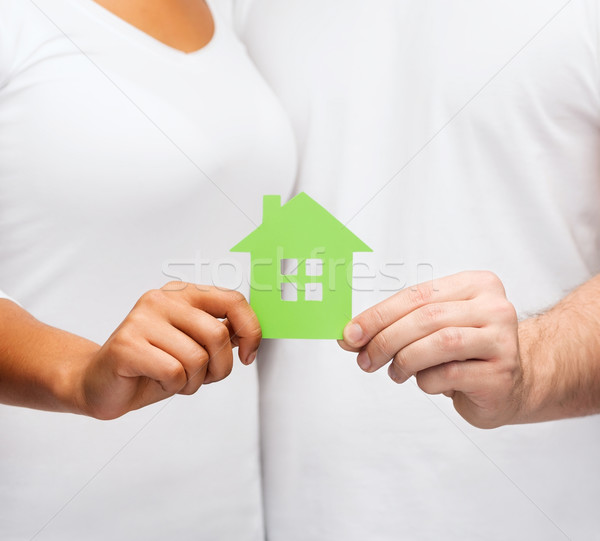 couple hands holding green house Stock photo © dolgachov