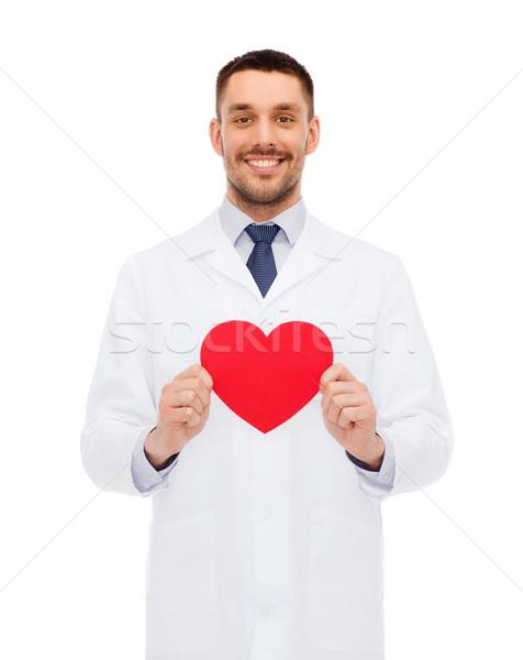Stok fotoğraf: Gülen · erkek · doktor · kırmızı · kalp · tıp · meslek