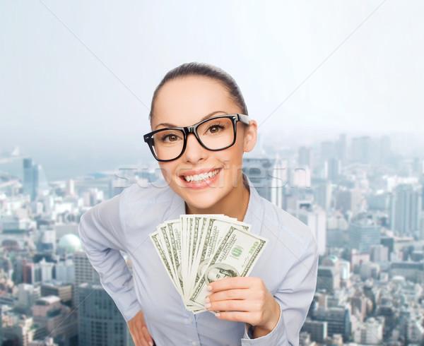 Gülen işkadını dolar nakit para iş Stok fotoğraf © dolgachov