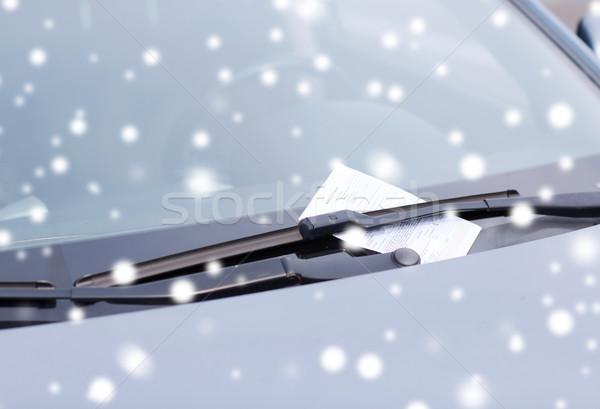 close up of parking ticket on car windscreen Stock photo © dolgachov