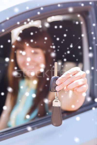 Gülümseyen kadın açık havada taşımacılık insanlar Stok fotoğraf © dolgachov