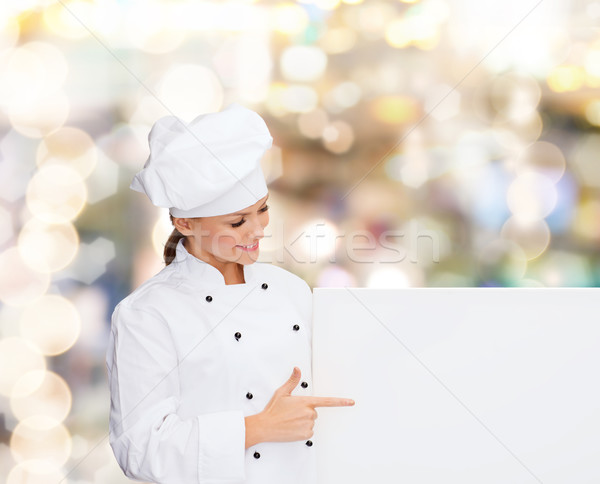 笑みを浮かべて 女性 シェフ 白 ボード 料理 ストックフォト © dolgachov