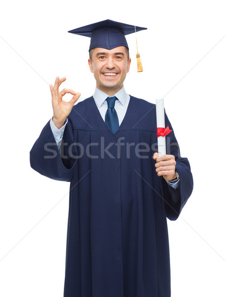 Glimlachend volwassen student diploma onderwijs afstuderen Stockfoto © dolgachov