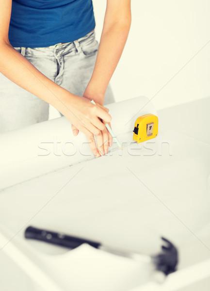 Arquitecto dibujo plan arquitectura casa Foto stock © dolgachov