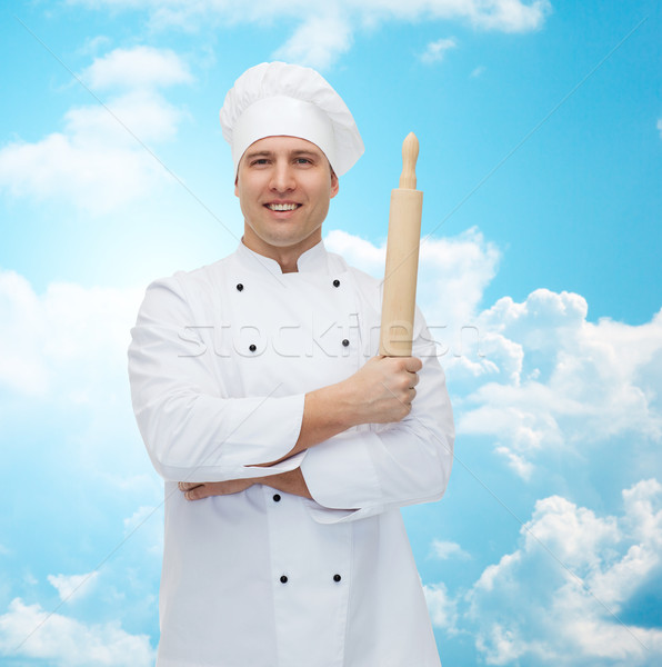 счастливым мужчины повар Кука скалка Сток-фото © dolgachov