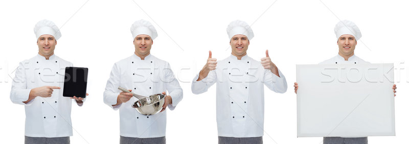 happy male chef cook set Stock photo © dolgachov