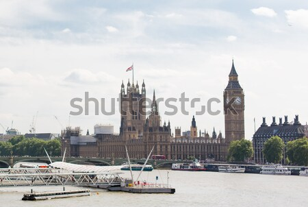 Houses of Parliament and ferris wheel in London Stock photo © dolgachov