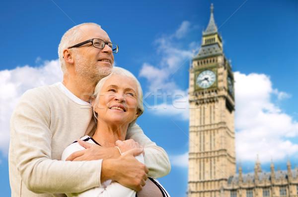 Feliz casal de idosos Big Ben torre Londres família Foto stock © dolgachov