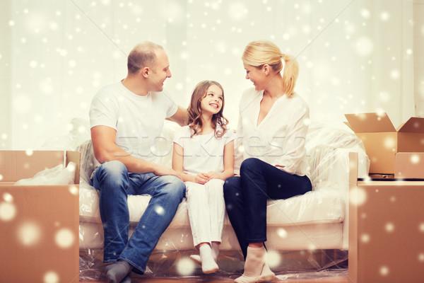 Lächelnd Eltern kleines Mädchen neues Zuhause Familie Menschen Stock foto © dolgachov