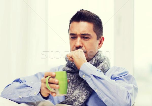 男 インフルエンザ 飲料 茶 ストックフォト © dolgachov