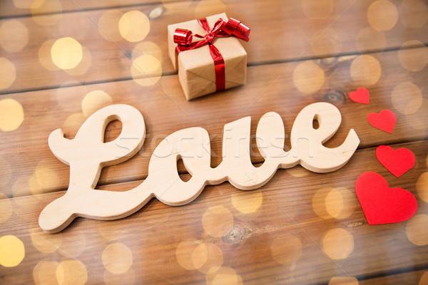 слово любви шкатулке красный сердцах Сток-фото © dolgachov