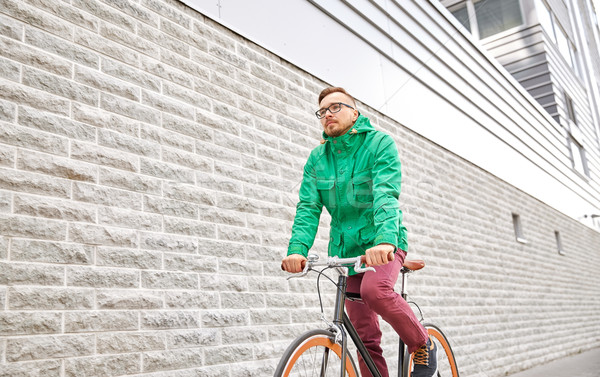 Stockfoto: Jonge · man · paardrijden · vast · versnelling