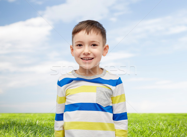 smiling little boy over blue sky and green field Stock photo © dolgachov