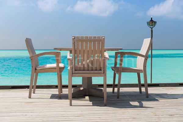 Ao ar livre restaurante terraço mobiliário mar viajar Foto stock © dolgachov