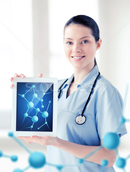 female doctor with tablet pc and molecules Stock photo © dolgachov