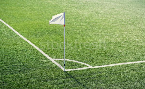 close up of football field corner with flag marker Stock photo © dolgachov