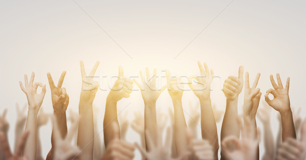 Stock photo: human hands showing thumbs up, ok and peace signs