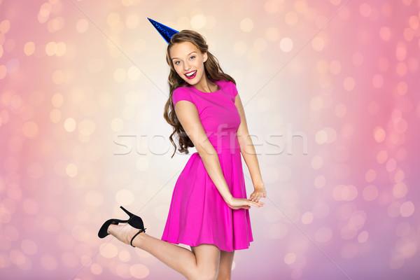 Mutlu genç kadın genç kız parti kapak insanlar Stok fotoğraf © dolgachov