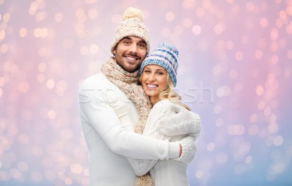 Sorridente casal inverno roupa amor Foto stock © dolgachov