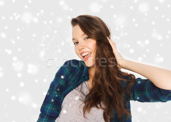 Gelukkig glimlachend mooie tienermeisje winter christmas Stockfoto © dolgachov