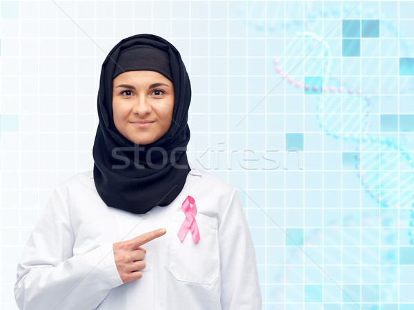 muslim doctor with breast cancer awareness ribbon Stock photo © dolgachov