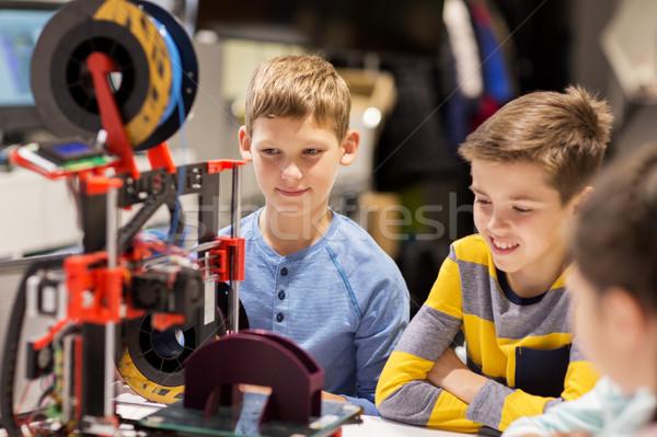 Boldog gyerekek 3D nyomtató robotika iskola Stock fotó © dolgachov