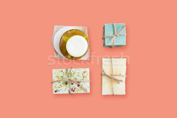 handmade soap bars over pink background Stock photo © dolgachov