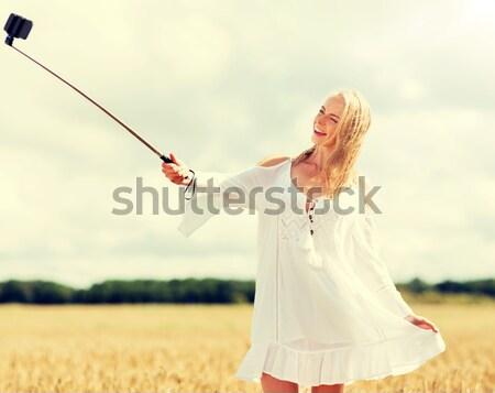 Stok fotoğraf: Mutlu · genç · kadın · çağrı · ülke · yaz