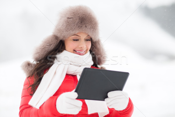 woman in winter fur hat with tablet pc outdoors Stock photo © dolgachov