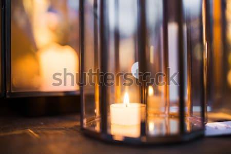 Közelkép lámpás gyertya égő bent ünnepek Stock fotó © dolgachov